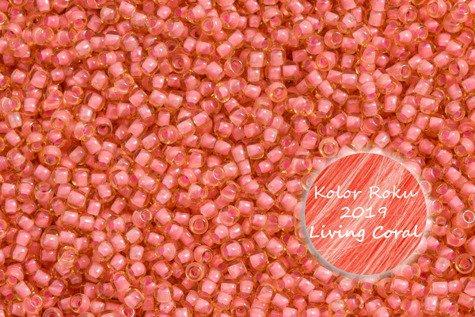 TOHO TR-11-925 Inside - Color Lt Topaz/Coral Pink - Lined 10g